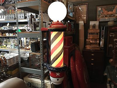 "1900's Fully Restored Cast Iron Barber Pole with Glass Cylinder ""Watch Video"""