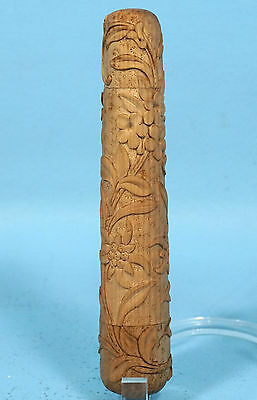 Antique Swiss Black Forest Wood Carved Crochet Hook Thimble Holder Edelweiss Sew