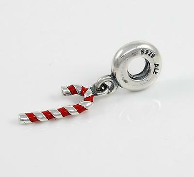 Pandora Sterling Silver Candy Cane Red Enamel Christmas Bead Charm