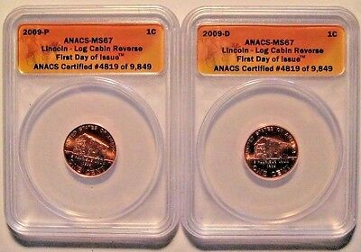 2009 P & D Lincoln Log Cabin Reverse Bicentennial Set ANACS MS67 First Day Issue