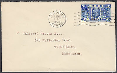 1935 KGV Silver Jubilee 2 1/2d blue FDC; Windsor/Berks M/C to Twickenham