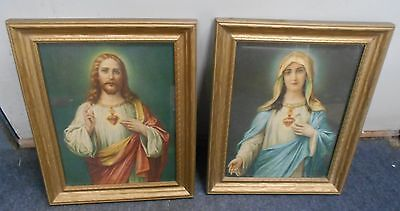Vintage Sacred Heart young Jesus and Mary framed pictures  Religious art!