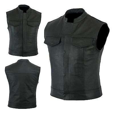 Motorcycle Motorbike Real Leather Sons Of Anarchy Style  Biker Vest Waistcoat