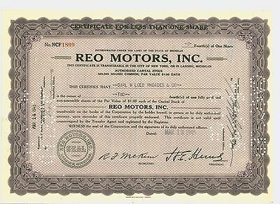 1945 Stock Certificate REO MOTORS, INC. 2/4ths of 1 Share