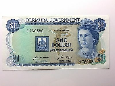 1970 Bermuda Government One 1 Dollar A4 Series Almost Uncirculated Banknote A925