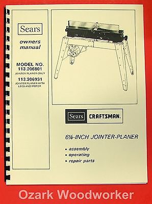 "CRAFTSMAN 113.206801 & 113.206931 6 1/8"" Jointer Operator & Parts Manual 0174"