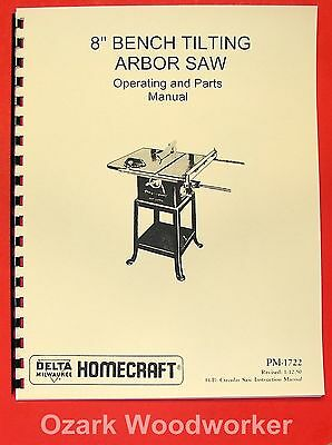"DELTA-HOMECRAFT 8"" Tilting Arbor Table Saw 34-500 Operator's & Parts Manual 0223"