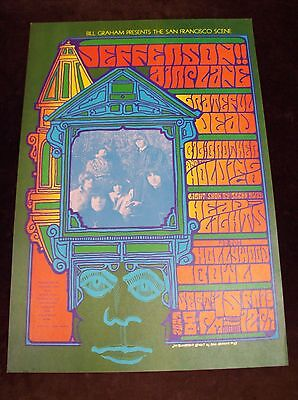 Jefferson Airplane Grateful Dead Bill Graham Hollywood Bowl Og 1St Print Poster