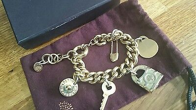 Genuine Mulberry Charm (x5) Bracelet with Dustbag and Box 18kt gold plated