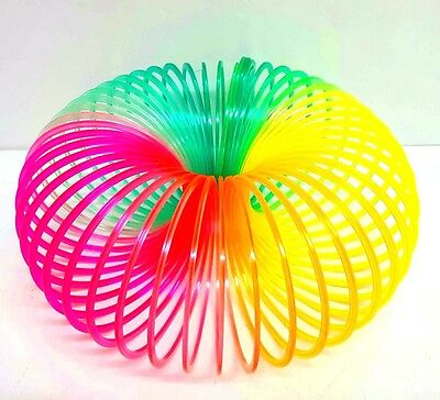 9.5CM LARGE RAINBOW SPRING COIL SLINKY FUN KIDS TOY MAGIC STRETCHY BOUNCING 10ft