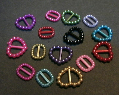 15 small Plastic buckles, doll sewing clothes belts crafts. 'JEWELS MIX'