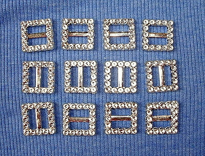 12 Plastic buckles, doll sewing clothes belts crafts. 'SILVER DIAMANTE'
