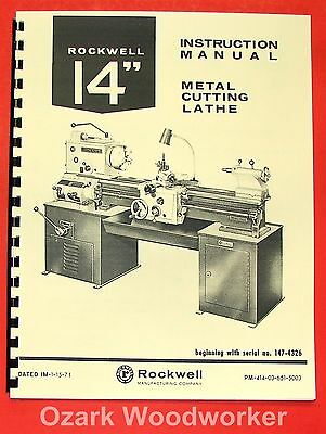"""ROCKWELL 14"""" Cabinet Metal Lathe Op/Parts Manual 0596"""