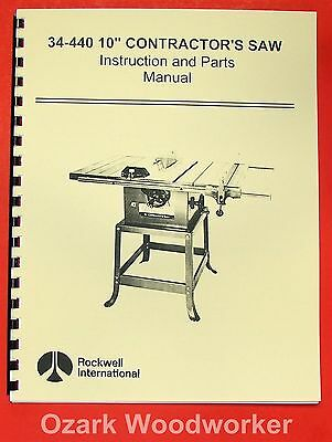 "ROCKWELL 34-440 10"" Contractor's Saw Parts Manual 0603"