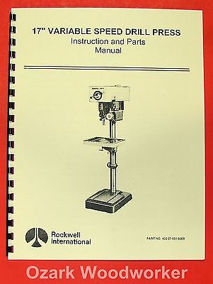 "ROCKWELL/DELTA 17"" Variable Speed Drill Press Manual 0627"
