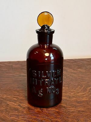 Antique Apothecary~ Amber Glass Bottle w/ Stopper~ SILVER NITRATE~ WHEATON