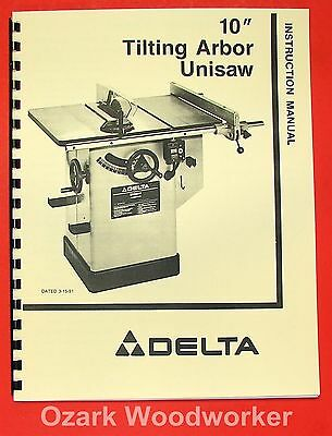 """DELTA-ROCKWELL New 10"""" Unisaw 36-820, 36-821 Instruction Part Manual 0252"""