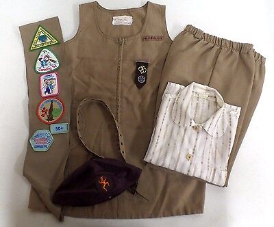 Vintage Brownie Girl Scouts Uniform Pants,Shirt,Jumper, Hat, Sash w/Patches, Pin