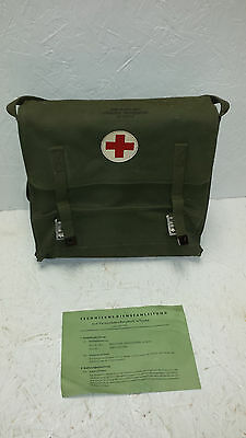 Vintage German Military Canvas Medic Satchel Bag with Stretcher and Instructions