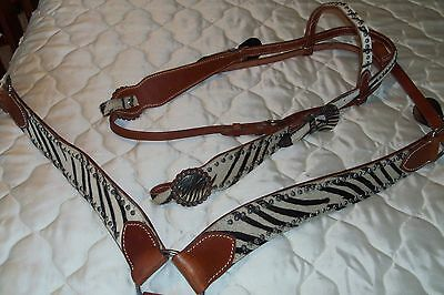 Western Horse/rodeo - Bridle & Breast Plate Set- Hide With Zebra Pattern - Sale