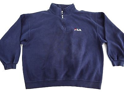 VINTAGE 90s FILA mens sweatshirt 2XL classic LOGO spellout MADE IN USA navy blue