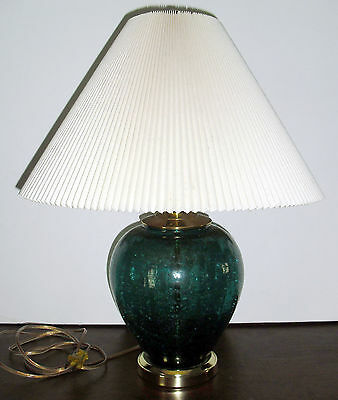 1960's Table Lamp CRACKLE ART GLASS electric with shade