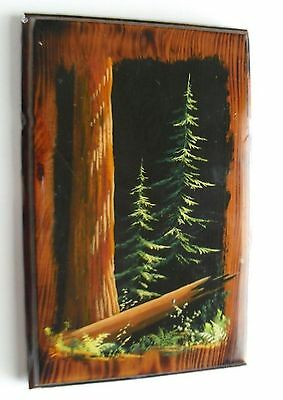 Vintage Trees of Mistery LAQUER on WOOD hand painted  WALL HANGING or TRAY