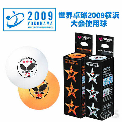 Butterfly Table Tennis Balls 3 Star 40 ITTF Approved Ping Pong 3 Pack