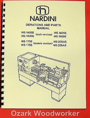 NARDINI Lathe MS-1400S/E 1600S/E 175S/E 205AS/E Manual 0481