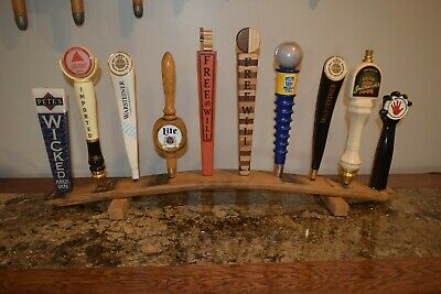 oak whiskey barrel stave 10 beer tap handle display stand