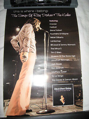 KINKS Songs of Ray Davies PROMOTIONAL POSTER promo TRIBUTE where I belong lp cd