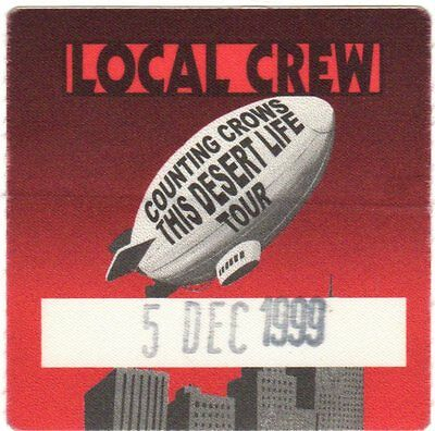 Counting Crows Original 1999 This Desert Life Tour Local Crew Backstage Pass