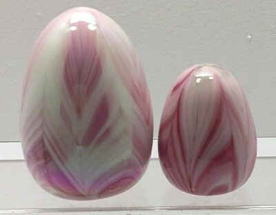 2 Gibson Art Glass Pulled Feather  Pink Egg Shape Paperweights