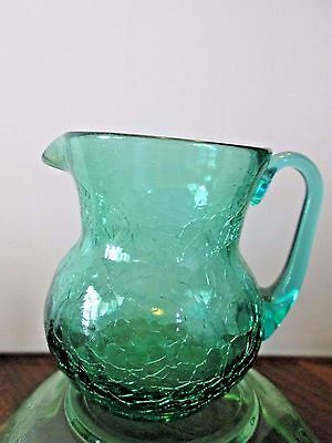 Aqua Crackle Glass Small Pitcher