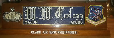 US Air Force Clark Air Base Philippines desk name plate fancy carved wood
