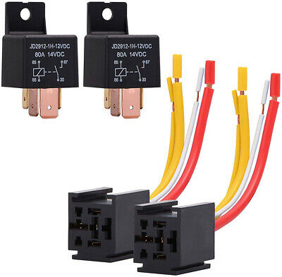 1PCS Car Relay 4Pin DC 12V 80A Normally Open SPDT with Relay Socket Plug 4 Wire
