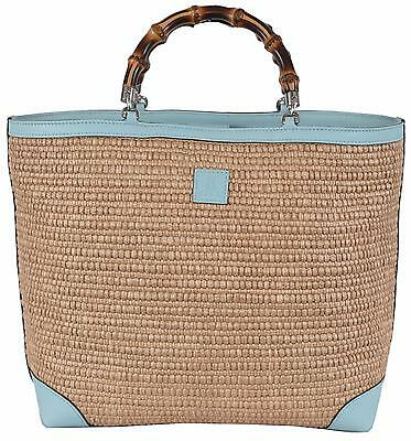 New Gucci Kid's 311175 Straw Bamboo Handles Flora Lining SMALL Tote Purse