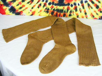 ladies vintage deadstock brown/tan extra long over the knee high socks NOS 5-6