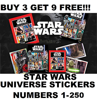 STAR WARS UNIVERSE Stickers topps Numbers 1-250  BUY 3 GET 9 FREE!!!
