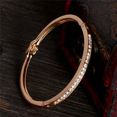 women Exquisite Gold-plated Stainless Steel Cuff Bangle Jewelry Crystal Bracelet