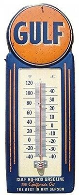 Gulf Gasoline Oil Vintage Thermometer Sign Gas Service Station Man Cave Tools