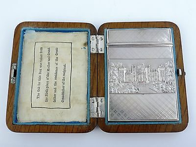 Fabulous Castle top SILVER CARD CASE, Birmingham 1837 Nathaniel Mills wooden box