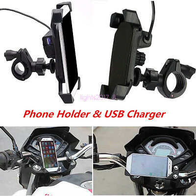 "Motorcycle Bike Adjustable 3.5-7"" Mobile Phone GPS Mount Holder with USB Charger"