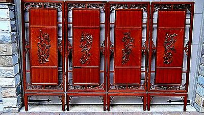 ANTIQUE19c CHINESE ROSEWOOD PIERCED CARVED 4 PANEL ROOM SCREEN W/BIRDS & FLOWERS