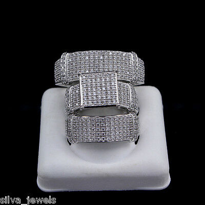 His Hers Trio White CZ 3pcs Engagement Wedding Band Ring Set Sterling Silver AAA
