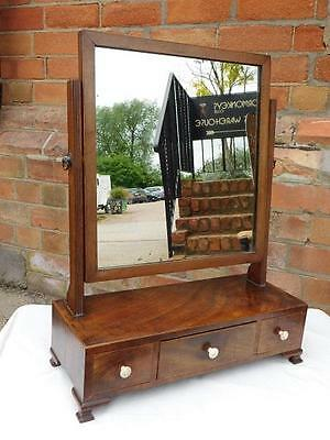 A Lovely Late Georgian Antique Mahogany Dressing Table Swing Mirror