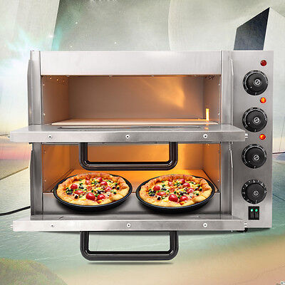 Electric Pizza Oven Double Deck CE Commercial Baking Fire Stone Catering Kitchen