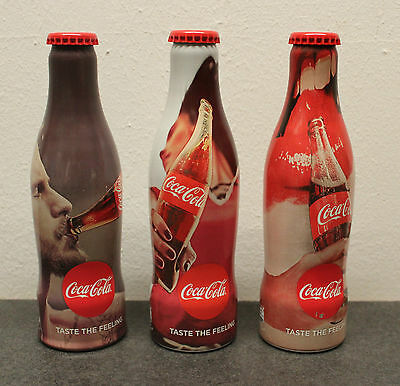Coca Cola - 1 set 3 alu bottles * TASTE THE FEELING * aluminum bottle * Austria