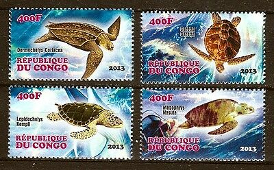 Série de timbres neufs ** MNH - Congo 2013 - Tortues marines Sea Turtles