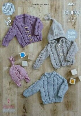 KNITTING PATTERN Baby Cable Cardigan, Hoodie, Jumper & Hat Chunky KC 4351